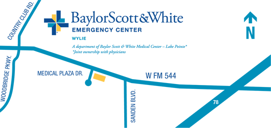 Map to Baylor Scott & White Emergency Center – Wylie